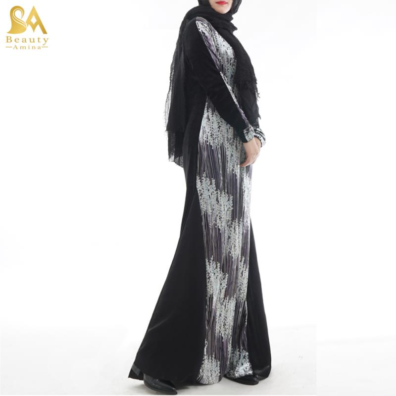 2018modest fashion 3D print velvet long dress stretch Dubai abaya girls kaftans autumn winter jilbabs and abaya Islamic clothes
