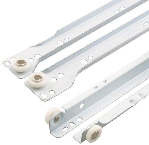 Prime-Line R 7210 Drawer Slide Kit, 15-3/4 in., Steel Tracks, White Powder Coat