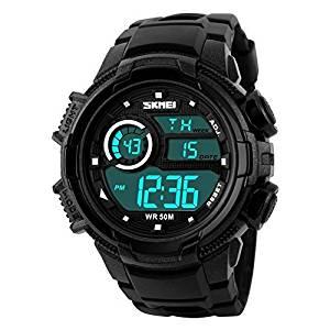 Jewtme S-Shock Multi Function Digital LED Quartz Watch Water Resistant Electronic Sport Watches Black