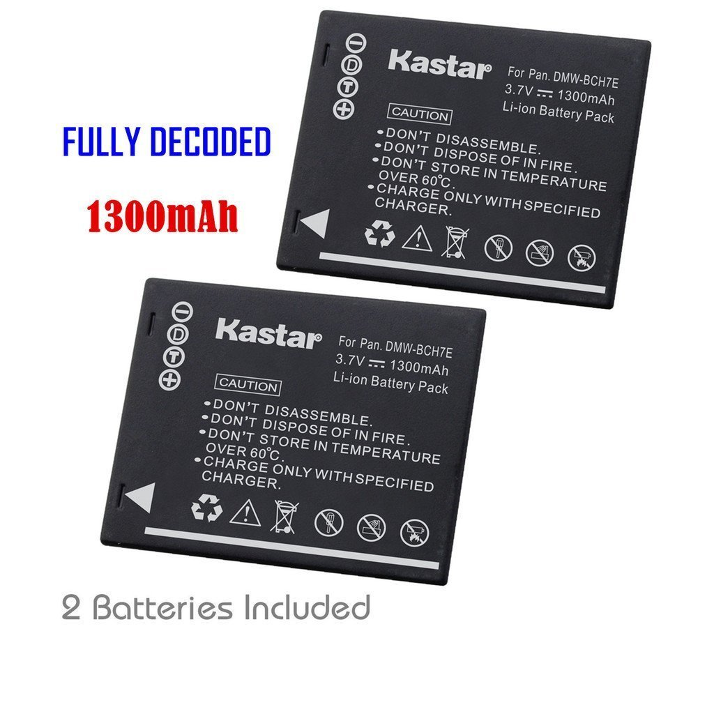 Kastar Battery (2-Pack) for Panasonic DMW-BCH7, DMW-BCH7PP, DMW-BCH7E, DE-A76 work with Panasonic Lumix DMC-FP1, DMC-FP2, DMC-FP3, DMC-FT10, DMC-TS10 Cameras