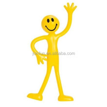 Custom plastic yellow man smiley bendable fidget stress relief toy,plastic smiley man toy,oem bendable fidget relief toy