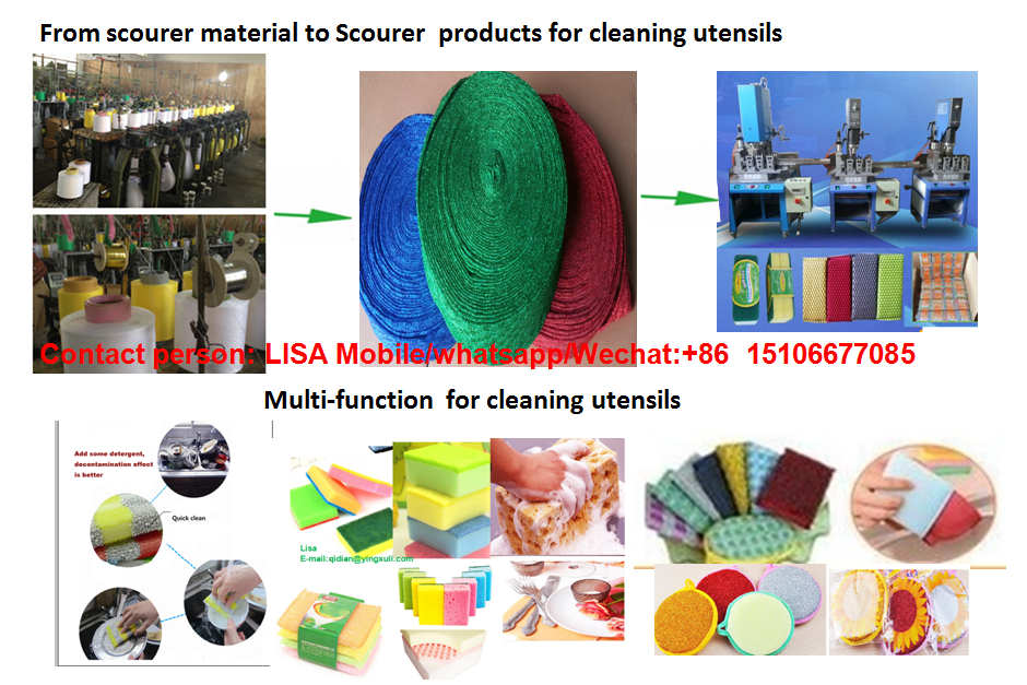 Used for kitchen cleaning sponge scrubber scourer raw material from shandong factory