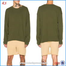 Chinese Clothing Manufacturers New Arrival Men Plain Long Sleeve T Shirt 100% Cotton in Olive Green