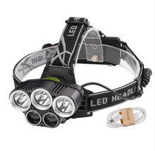 Faro <span class=keywords><strong>LED</strong></span> 5 <span class=keywords><strong>LED</strong></span> 15000 Lumen USB recargable XML T6 <span class=keywords><strong>LED</strong></span> linterna de cabeza 18650 linterna de cabeza linterna de pesca luces de Camping