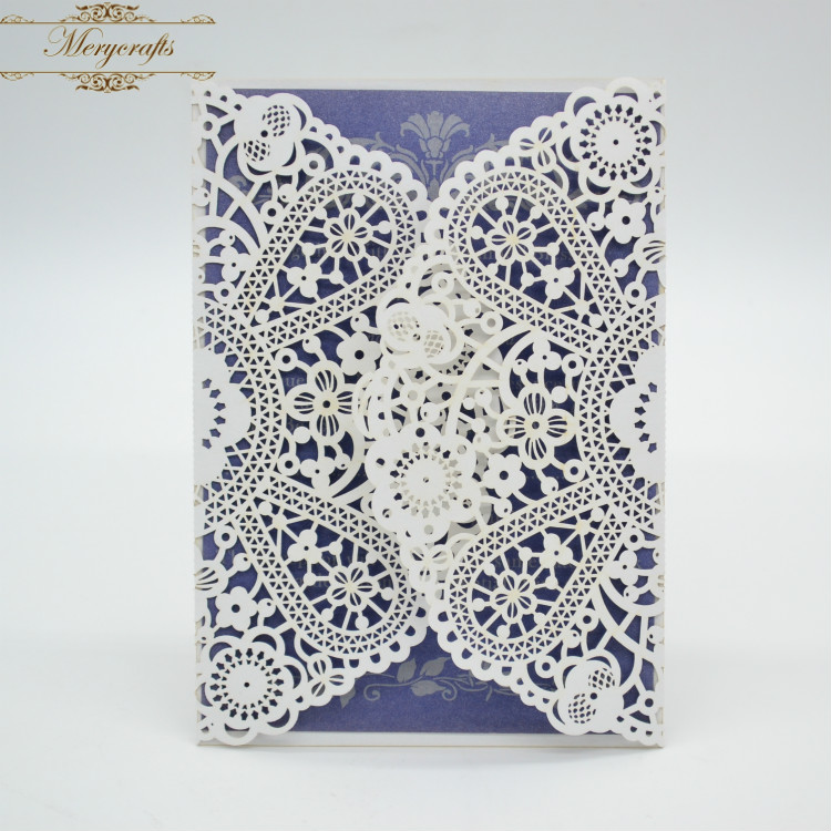 2017 Cheap Wedding Invitations Luxury Unique Flower Delicate Laser Cut Invitation Card With Free Ribbons