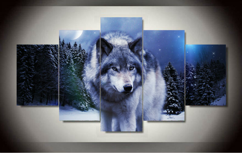 5 Panels Canvas Painting Animal Wolf In <font><b>Winter</b></font> Painting <font><b>Home</b></font> <font><b>Decoration</b></font> for Living Room Modern Wall HD Printed Picture Unframed