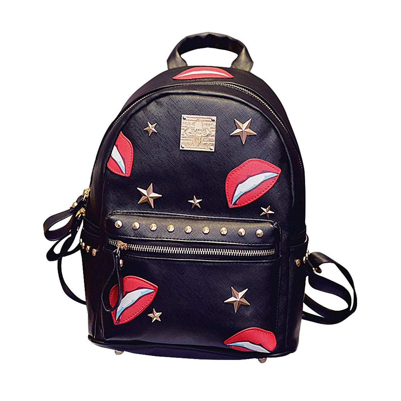 78aa45da3587 Get Quotations · Fieans Women s Gothic Casual Pu Leather Rivet Decorative  Lips Backpack Satchel Handbag College Backpack-Black1