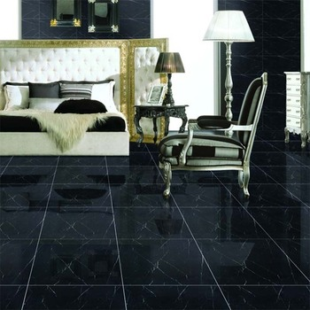 China Black Polished Porcelain Floor Tiles 600x600 Mm