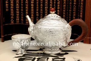 China classical dragon pattern engraved silver tea set