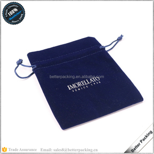 BV122 Luxury Navy Blue Velvet Drawstring Jewelry Pouch With LOGO
