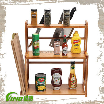 3 Tiers Wood Kitchen Retail Spice Rack,Handmade Countertop Storage Stand  Holder,Knives And Cutting Board Rack Organizer - Buy Kitchen Spice ...