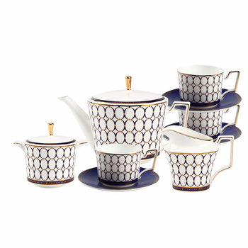 Blue Classical Design Coffee and Tea Sets Splendid English Afternoon Coffee and Tea Set