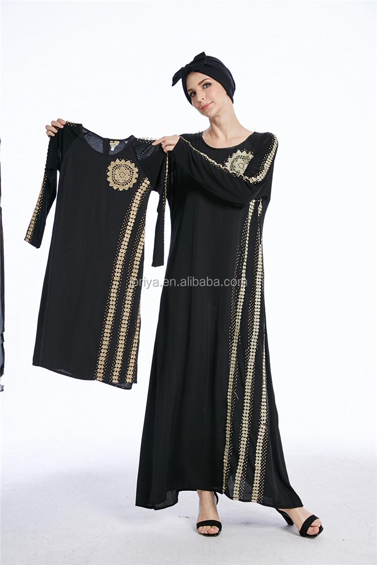 2017 Burqa Pakistan Muslim Maxi Gaun Hitam Emas Menyulam Bunga Arab Abaya Gold