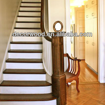 White Wooden Stair Treads With Walnut Handrails - Buy Wooden Stair  Treads,Walnut Handrails,White Wooden Stair Treads With Walnut Handrails  Product on