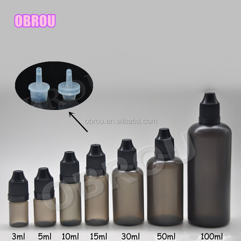 3ml 4ml 5ml 10ml 15ml 30ml 50ml black plastic e juice bottle with childproof cap and tip