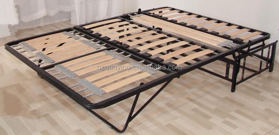 New Design Modern Convertible Steel Tube Wood Slat Folding Sofa Bed