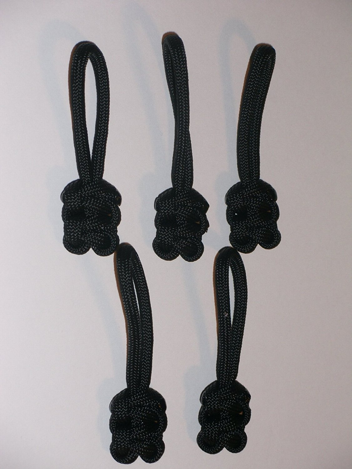 RedVex Paracord Zipper Pulls / Lanyards - Lot of 5 - ~2.5 - Black