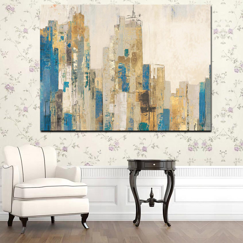 Abstract City Oil Oainting On Canvas Print Painting 30% Hand Paint Wall Art On Canvas For Craft Decoration
