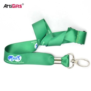 Wholesale popular custom cool designs double satin ribbon stitched lanyards