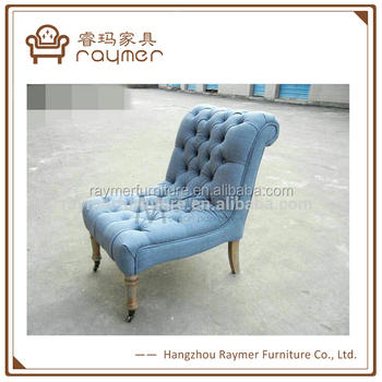 Living Room Antique Leisure Wood Frame Upholstered Chairs Without Arms