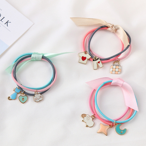 Wholesale elastic custom hair ties charm design for kids girl women hair metal cute accessories elastic tie ponytail holders