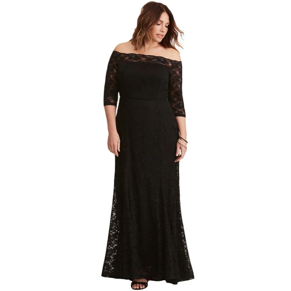 Black Plus Size Lace Off Shoulder Party Maxi Dress - Buy Plus Size White  Party Dresses,Plus Size Maxi Dresses,Lace Insert Maxi Dress Product on ...