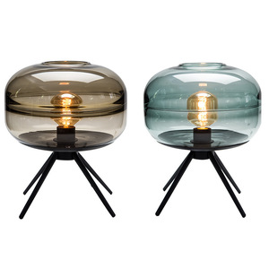 Nordic Tripod Iron Desk Lighting Home Modern Stained Glass Table Lamp
