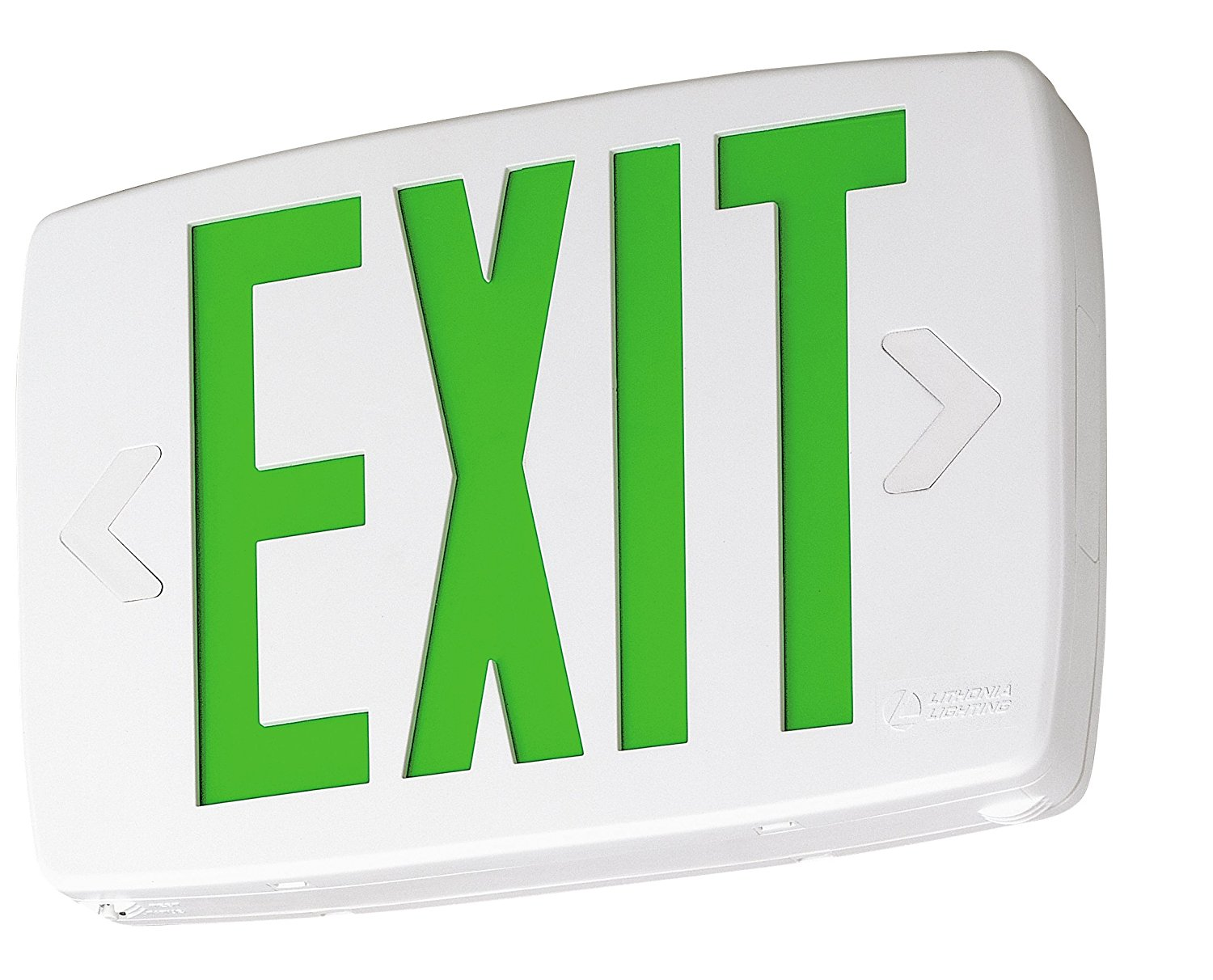 Lithonia Lighting LQM S W 3 G 120/277 X2 M6 Quantum Thermoplastic LED Emergency Exit Sign with Stencil-Faced White Housing and Green Letters