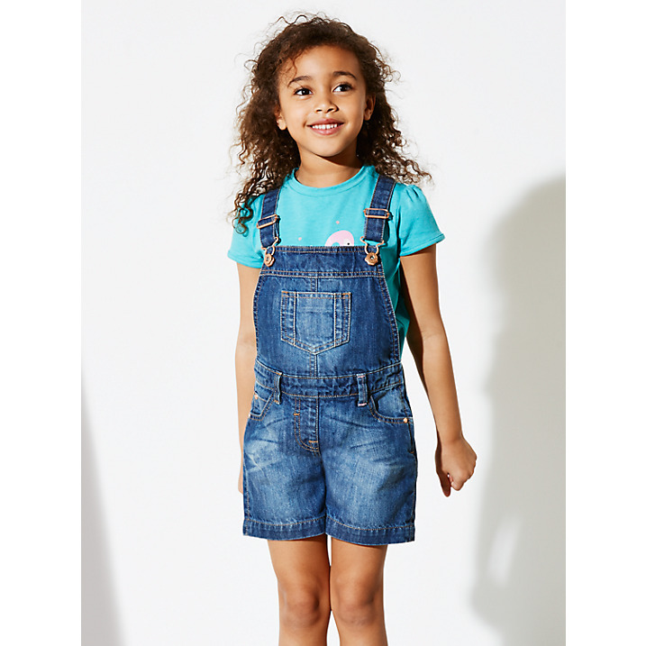 9efa0c9ebc0 100% cotton Denim Children Girls  Dungarees shorts   Indigo Washed Kid Girls  Denim
