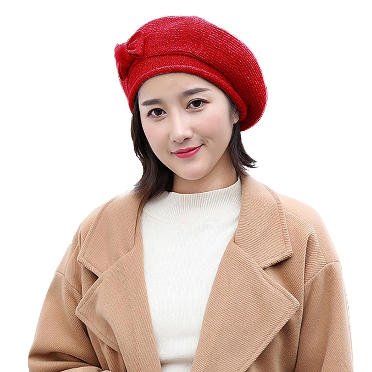 2c578316 Get Quotations · ZX101 Classic Art Basque Beret Tam Beanie Hat Fashion  Women Bowknot Solid Color Warm Winter Outdoor