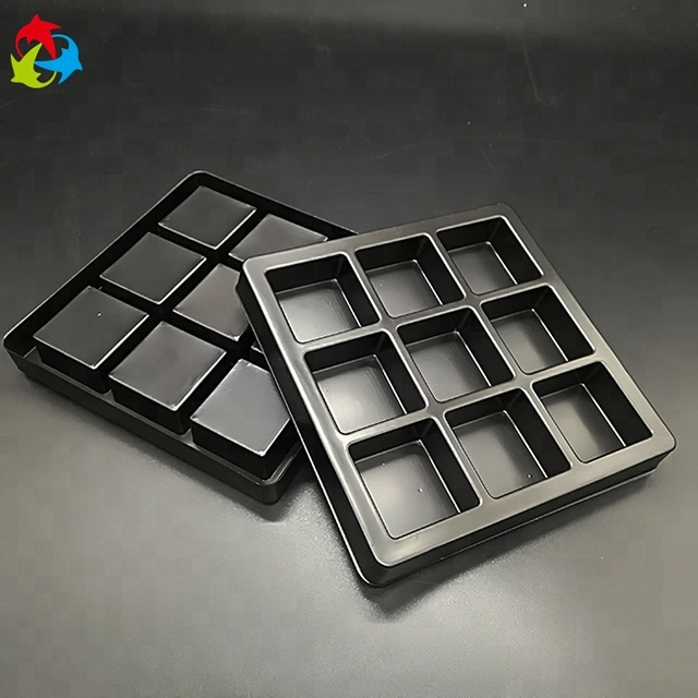 Custom Food Grade Black Plastic PS Blister Chocolate Insert Trays