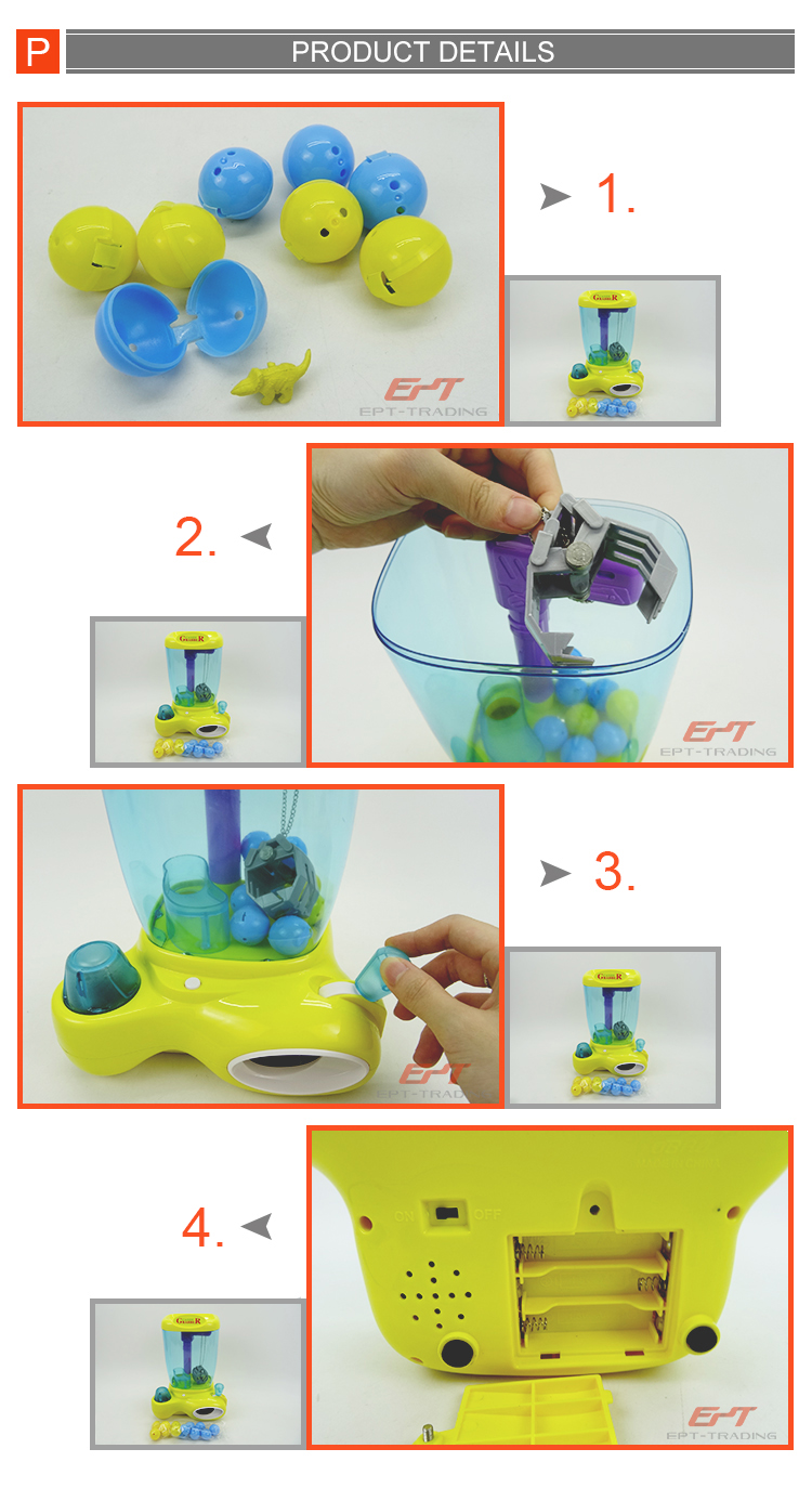 China wholesale battery operated candy grabber machine toy mini candy toy with light and music