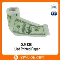 Wood pulp funny U.S. dollar printed toilet paper roll