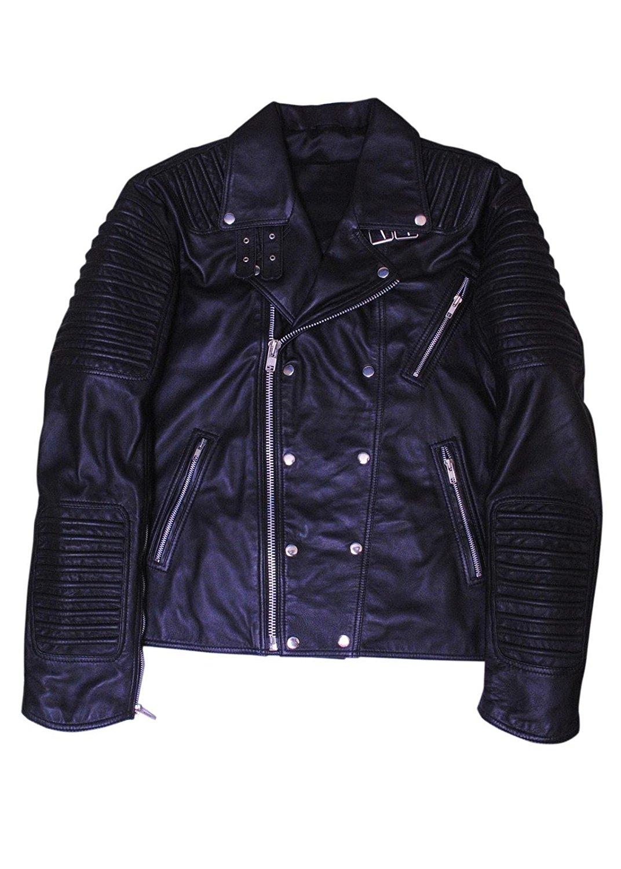 Bestzo Men's Fashion lamb Leather biker jacket Blue L