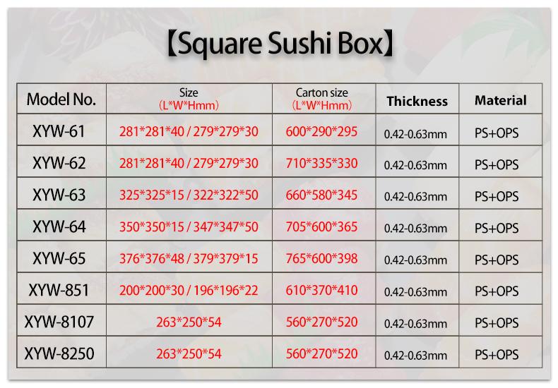 Janapanese descartável food grade tampa clara anti skid PS rodada boa vedação sushi 3 compartimento recipiente
