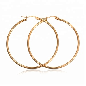 Classic Plain Big Round Gold Color Stainless Steel Hoop Earrings