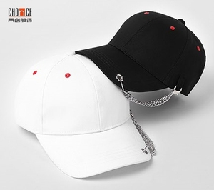 fashion 6 panel metal chain decorated baseball hat cap
