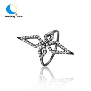 Custom high quality women jewelry shiny diamond black gun gold sterling silver ring