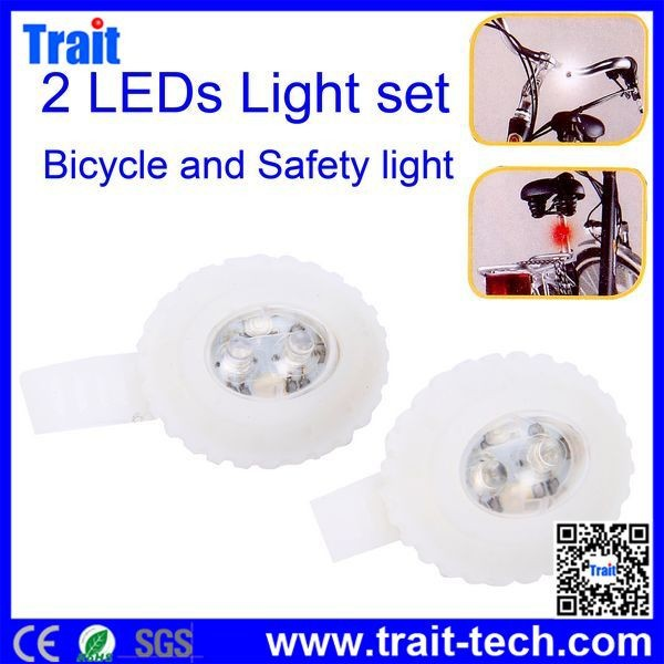 China Wholesale HJ015-2 2 LEDs Bicycle Safety Light Set