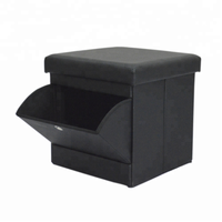 black leather folding storage ottoman foot rest