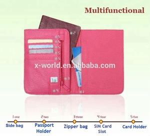 OEM Ultra Slim Anti-scamming RFID Blocking Ticket Passport Holder Case PU Leather Wallet Case with Card Holder