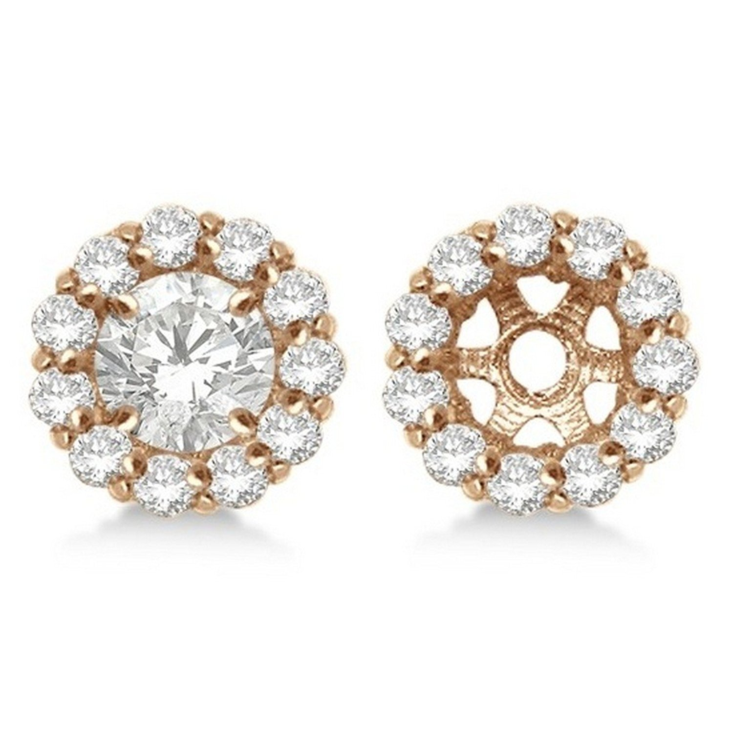 14k Gold Round Diamond Earring Jackets For Your 5mm Studs 0 77ct