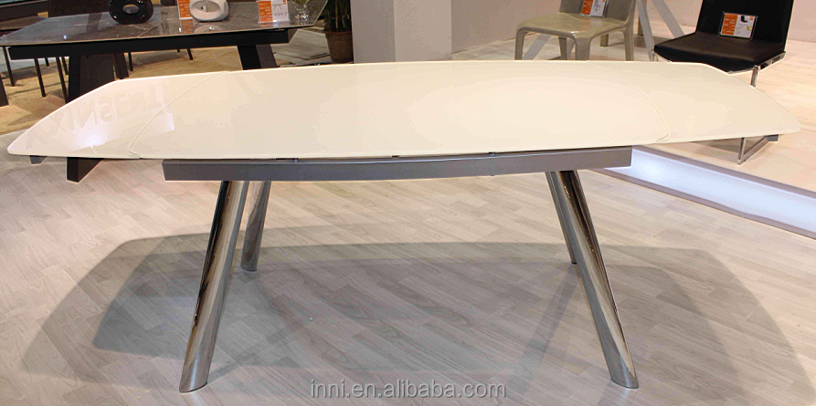 MODERN EXTENSION GLASS RECT. DINING TABLE (6245)