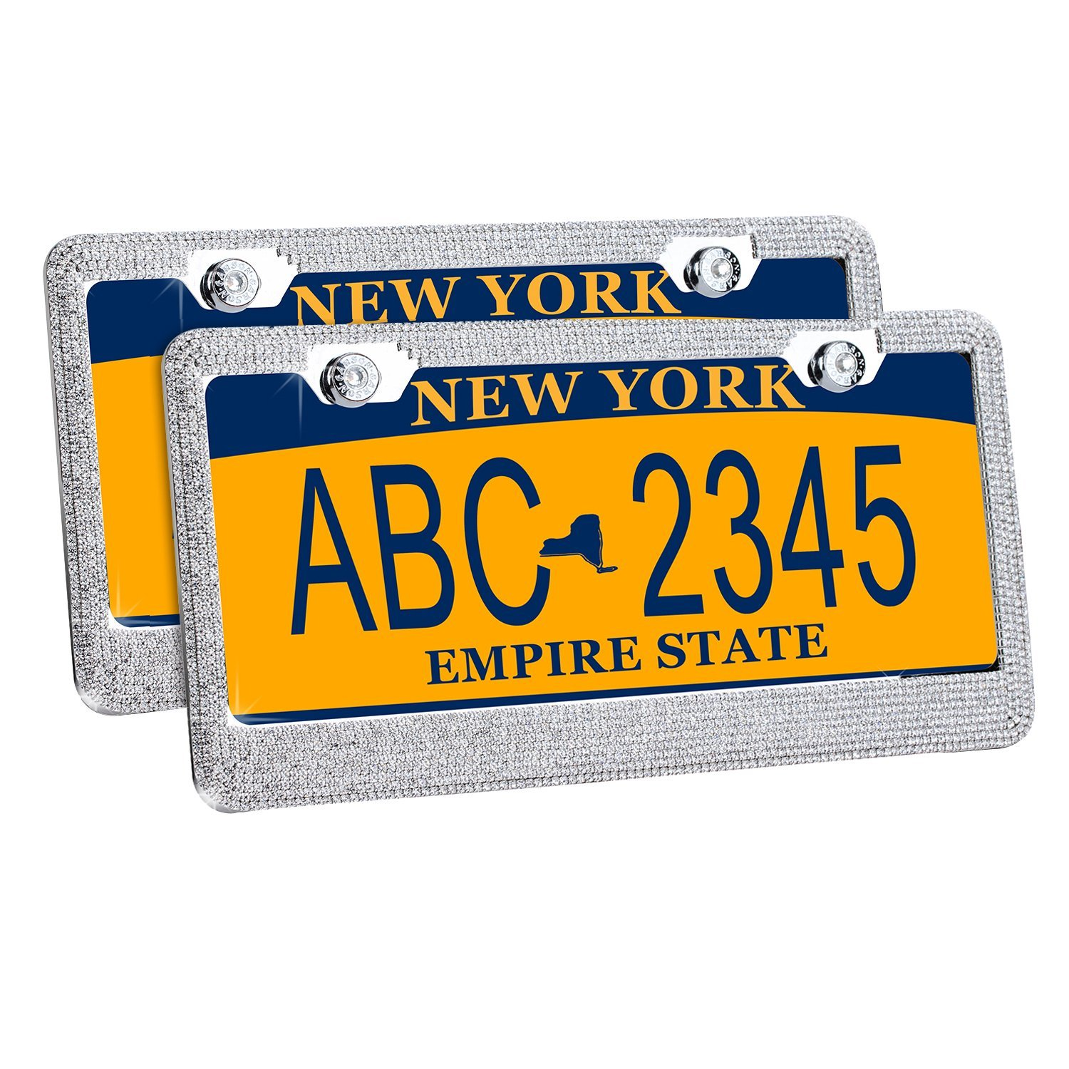 Buy License Plate Frame Rhinestone, GEOTEL Rhinestone License Plate ...