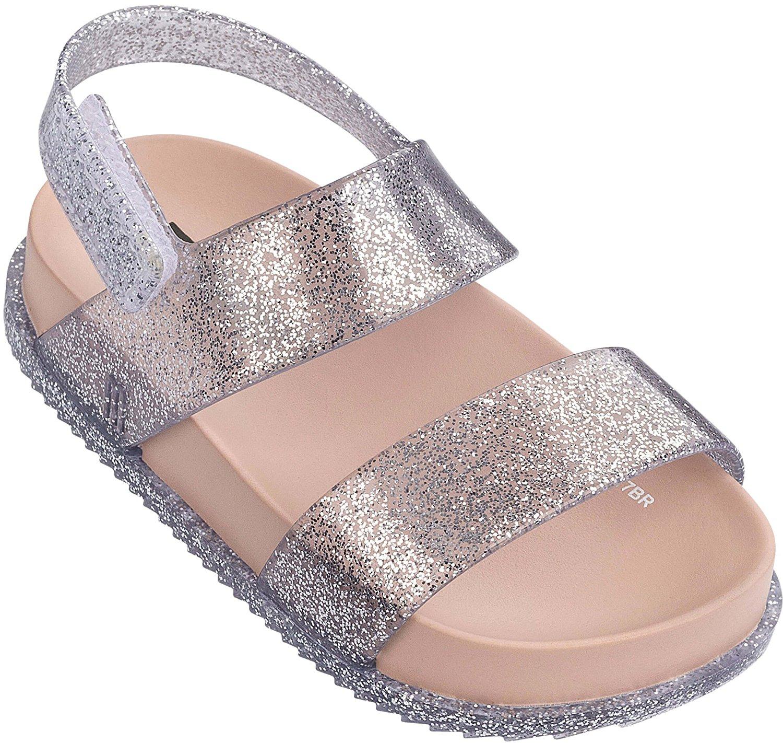 63aae73846cd8 Get Quotations · Mini Melissa Baby Girl s Mini Cosmic Sandal (Toddler Little  Kid) Silver Sparkle