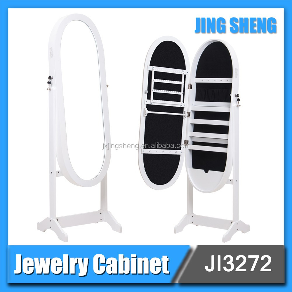 Modern Design Floor Standing Full Length Mirrored Chinese Jewelry Cabinet