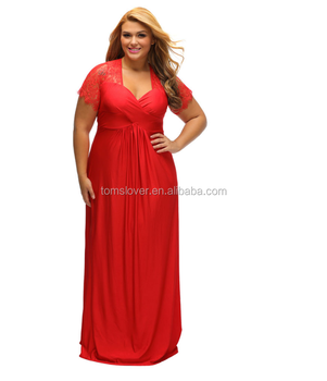 Plus Size Evening Dresses Cap Sleeves Red Long Sheer Neckline Fat