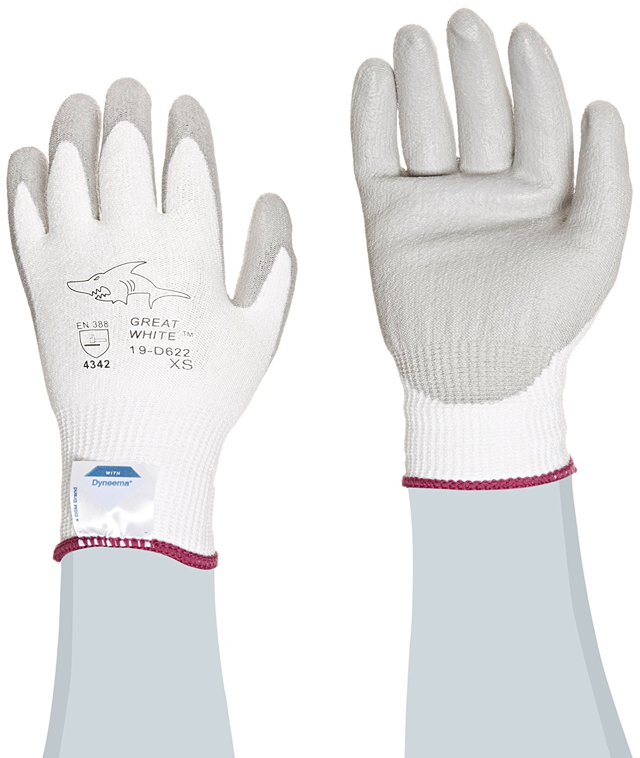 Great White 19-D622/XS 13-Gauge Dyneema/Lycra Cut Resistant Gloves with Polyurethane Coated Palm and Fingers, White/Gray, X-Small, 1-Dozen