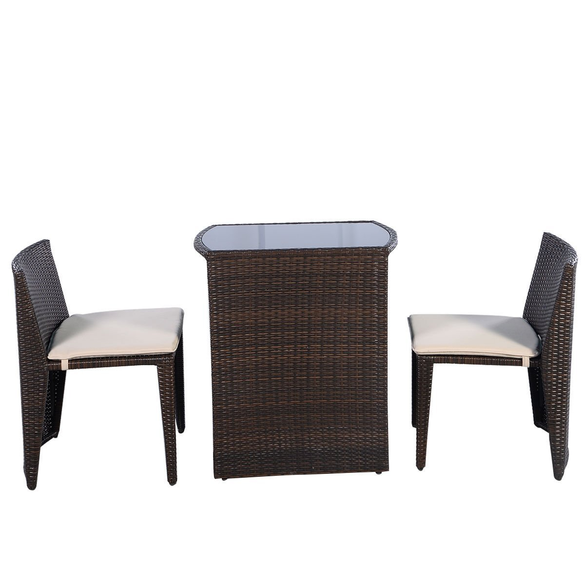 Get Quotations · Outdoor Patio Furniture Wicker 3pc Bistro Set W/ Glass Top  Table, 2 Chairs