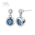 pretty 925 sterling silver custom jewelry natural blue topaz gemstones dangling drop earrings for ladies